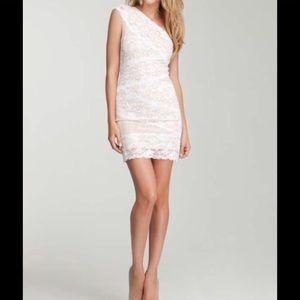 Bebe Size XXS White/Nude One Shoulder Lace Dress